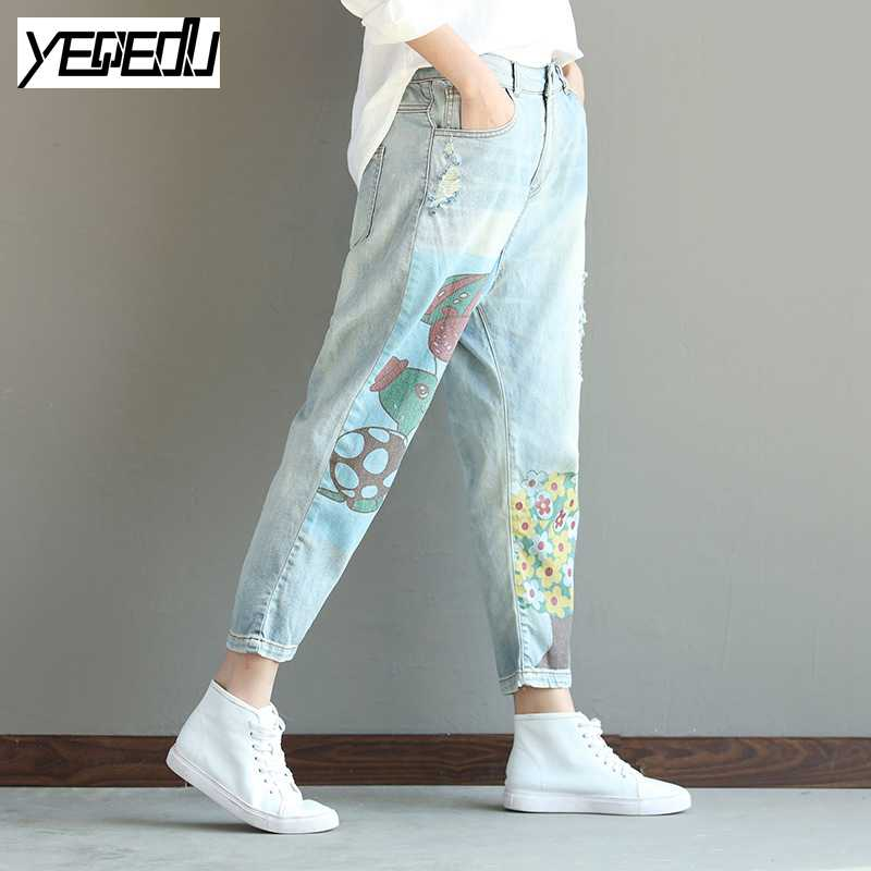#0418 2017Summer Large size jeans Ankle-length Harem jeans feminino Denim jeans womens Vintage Cartoon printed Loose Distressed