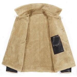 Image 3 - FGKKS 2020 Men PU Leather Jacket Winter Thick Warm Pilot Jacket Male Fur Collar Jacket tactical Men Jacket Coat