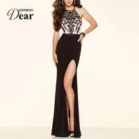 Comeondear High Slit Halter Neckline Elegant Party Embroidery Dresses With Splits Backless Formal Dress Women Summer Maxi Dress