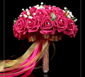 2017 New Arival Flowers Cheap Romantic Fuchsia Red Bridal Bridesmaid Handmade Artificial Rose Wedding/Bridesmaid Bouquets