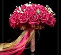 2017 Nueva Arival Flores Romántico Barato Fucsia Rojo Nupcial Hecho A Mano Rosa Artificial de La Boda de dama de Honor/Dama de Honor Ramos