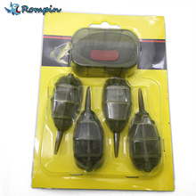 Rompin 4Pcs/Set (15g 20g 25g 30g) Carp Fishing Feeder Tool Inline Method Feeder with Mould Carp Lead Sinker Free Lead
