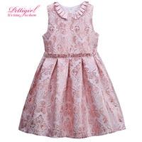 New Pettigirl A-line Sleeveless Pink Jacquard Princess Girl Flower Pleated Dress Summer 3-8Y Hot Baby Frock Designs