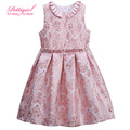 New Pettigirl A-line Sleeveless Pink Jacquard Princess Girl Flower Pleated Dress Summer 3-8Y Hot Baby Frock Designs