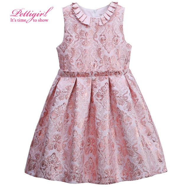 Nuevo pettigirl a-line sin mangas jacquard rosa princesa niña de las flores vestido plisado verano 3-8y caliente bebé frock designs