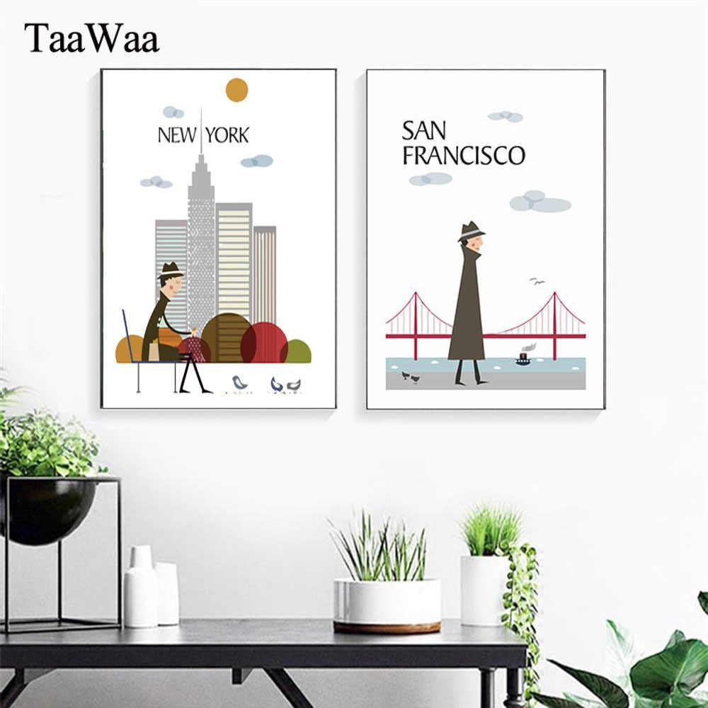 Taawaa New York London Vintage Poster Sáng Thành Phố Dán Tường Phong Cảnh Tranh Canvas Nghệ In Hình Cho Căn Phòng Nhà trang Trí