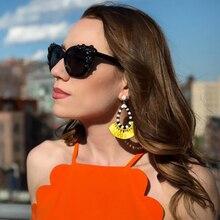 Bohemian Fringe Earrings Vintage Colorful Earing Fashion Jewelry Statement Fan-shaped Tassel Earrings for Women