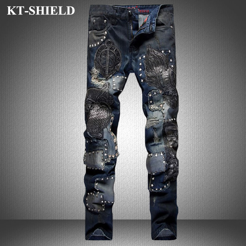 Winter Ripped Jeans Men Fashion Brand Slim fit Denim Trousers Distressed Pants Men Vaqueros Hombre Printed Casual Harem Pants fashion 3d printed embroidery jeans men biker ripped slim full length pants cotton cargo harem casual trousers vaqueros hombre