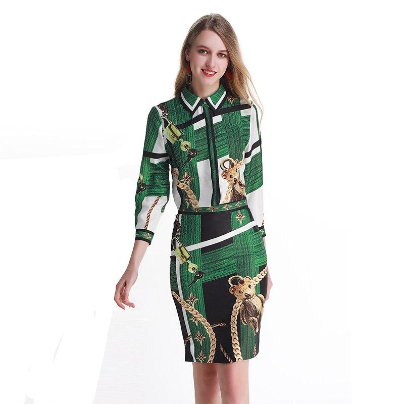 Zomer Mooie 2 Stuks Groene Sets Hoge Kwaliteit Mode Drie Kwart Mouw Turn down Kraag Shirts + Rokken Slim mooie Kostuums-in Sets voor dames van Dames Kleding op AliExpress - 11.11_Dubbel 11Vrijgezellendag 1