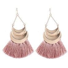 FISHPEACH New Trendy Gold Crescent Long Tassel Earrings Pink Fringe Big Sector Drop For Women Bohemian Female Jewelry