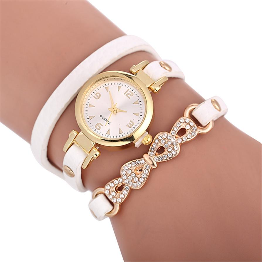 Hot Leather Diamond Bracelet Watch Dress Women Watch Brand Luxury Beautiful Quartz Wrist Watch Ladies Dropshipping Kol Saati #W
