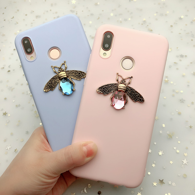 3D Bee Candy Color Soft TPU <font><b>Case</b></font> For <font><b>Huawei</b></font> Mate 10 20 <font><b>P20</b></font> P30 P10 Y6 Y5 Y9 Prime 2018 Honor 10 9 <font><b>Lite</b></font> 7C 7A Pro 8X 8C P Smart image