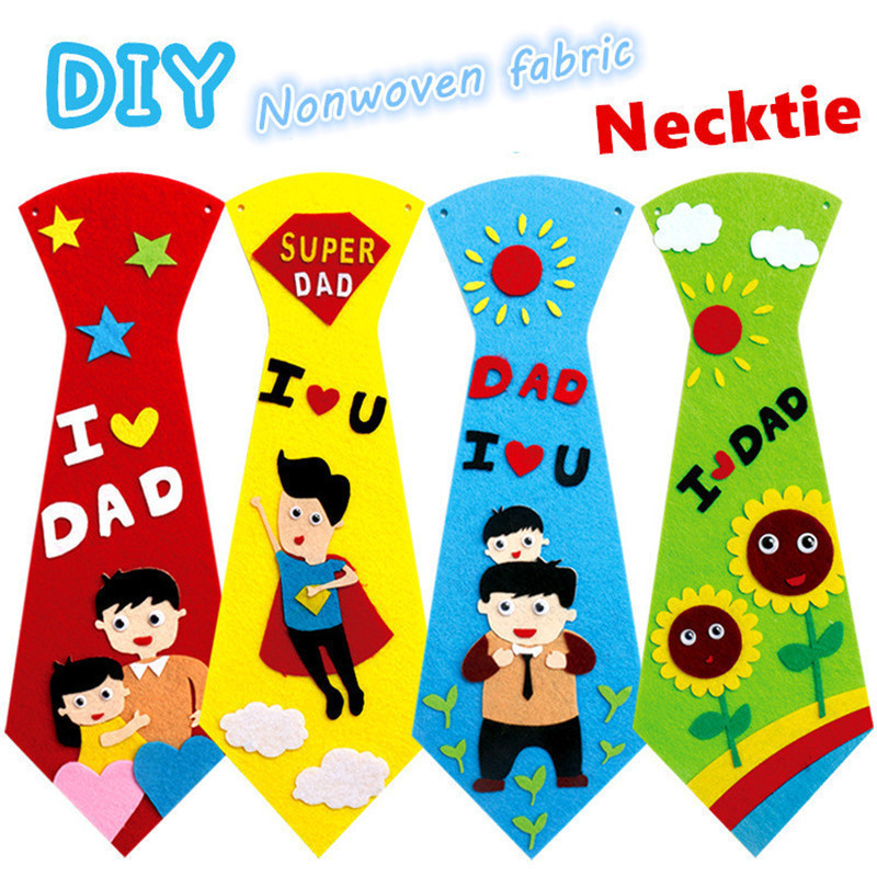 3PCS Creative Crafts DIY Ties Kindergarten Children Kids Handmade Educational Toys Fathers Day Gift Material Package