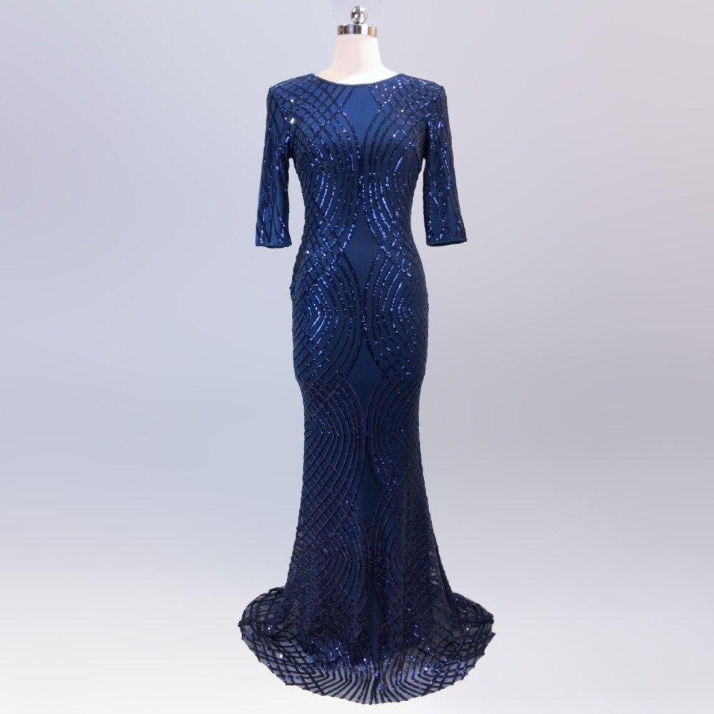 Kadın Giyim'ten Elbiseler'de Zarif Sequins Elbise Kadın Vestidos Verano Yarım Kollu O boyun Uzun Ince Robe Femme ete Resmi Lüks Mavi Glitter'da  Grup 1