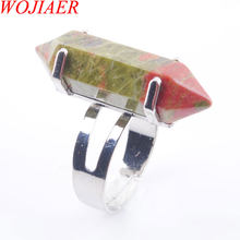 WOJIAER Unique Ring for Women Natural Stone Round Beads Casual Finger Rings Unakite Jasper Silver Color Party Jewelry 1P PX3017(China)
