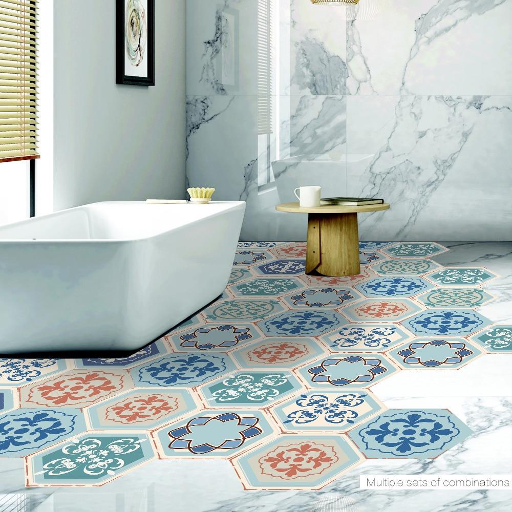 Retro Fliesen Aufkleber Boden Aufkleber Hexagon Matte Design