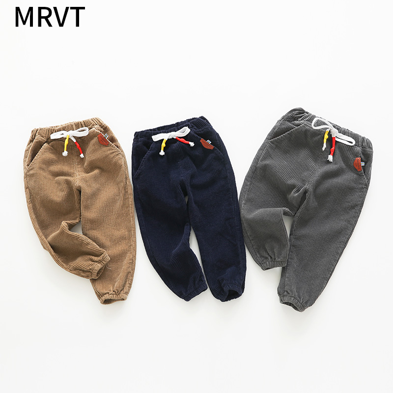 MRVT Boy Long Trousers Fashion Baby Spring Corduroy Pants Waist Drawstring Children's Clothing Autumn Cotton Baby Pants Casual drawstring waist m slit tube dress