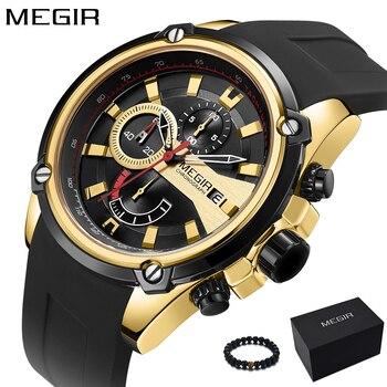 36115e9cdd1c Relojes para hombre MEGIR 2018 reloj deportivo militar de cuarzo de lujo de marca  superior reloj de pulsera de silicona de oro para hombre reloj