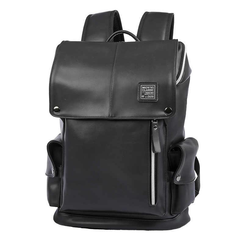2a1aab39cdcd ... Человек рюкзак из искусственной кожи USB для подзарядки ноутбука  школьная сумка мужская Водонепроницаемый путешествия Мульти-