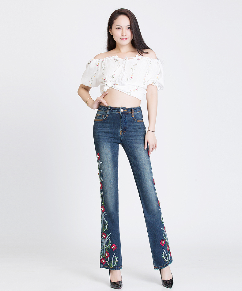 KSTUN FERZIGE Women Jeans High Waist Stretch Embroidered Flares Bell Bottoms Beads Pleated Denim Pants Jeans Long Trousers Mom Jeans 11