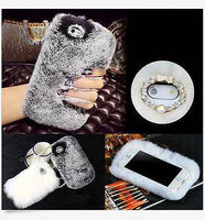 Xingduoデラックス冬暖かい柔らかいふわふわウサギの毛皮の結晶ブリンブリンcaseカバーのためのiphone 7 7 plus 6 6 sプラス5 5 s se 4 4 s