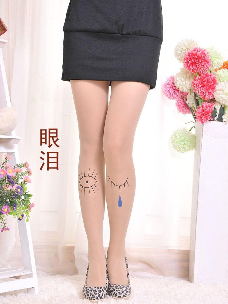 QA90 Summer ultra tights print tattoo various transparent pantyhose ladies cute character stockings