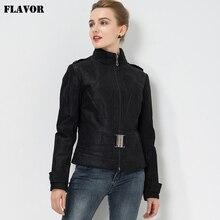 Women's Pigskin biker slim Real leather motorcycle jacket Genuine Leather jacket with belt