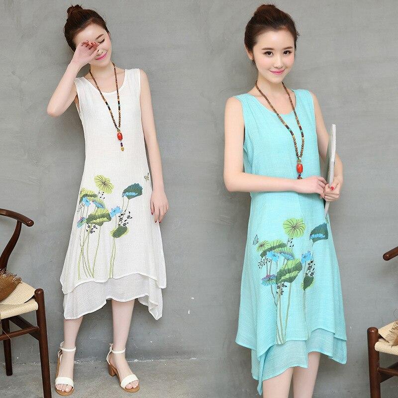 2016 Beach Solid Boat Neck Lycra Chiffon Short Spring Summer Sen Female Fan Art Cotton Printed False Two Irregular Long Dress V
