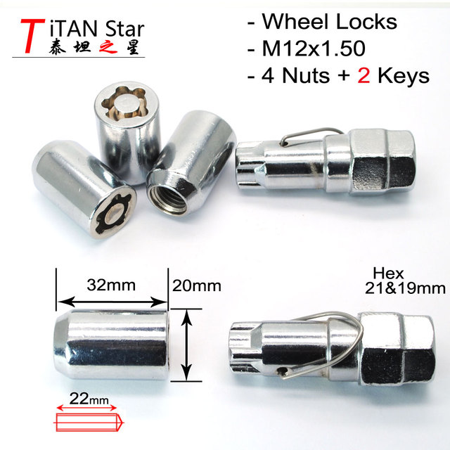 4nuts 2keys 12x1 5 M12 1 Wheel Locks Anti Theft Lug Nuts For Buick Cruze Ford Focus Kuga Opel Astra J Kia Hyundai Mazda In Bolts From Automobiles