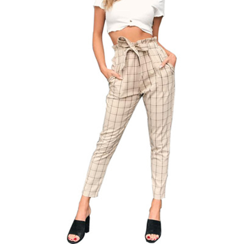 Elegant Plaid Women Pants Empire Drawstring Cargo Pants Spring Autumn Office Lady Trouser