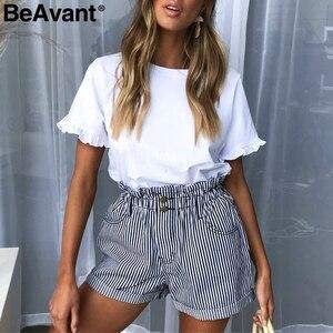 Image 2 - BeAvant פסים קיץ סיבתי מכנסיים קצרים נשים 2019 כפתור רוכסן כותנה גבוהה מותן מכנסיים נקבה חוף מכנסונים מיני מכנסיים קצרים תחתון