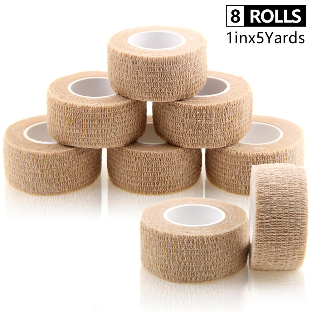8 Rolls Self Adhesive Bandage Sport Tape Waterproof Non Woven Exercise Sports Tape Finger Wrap Tape Cohesive Bandage  Pain Care