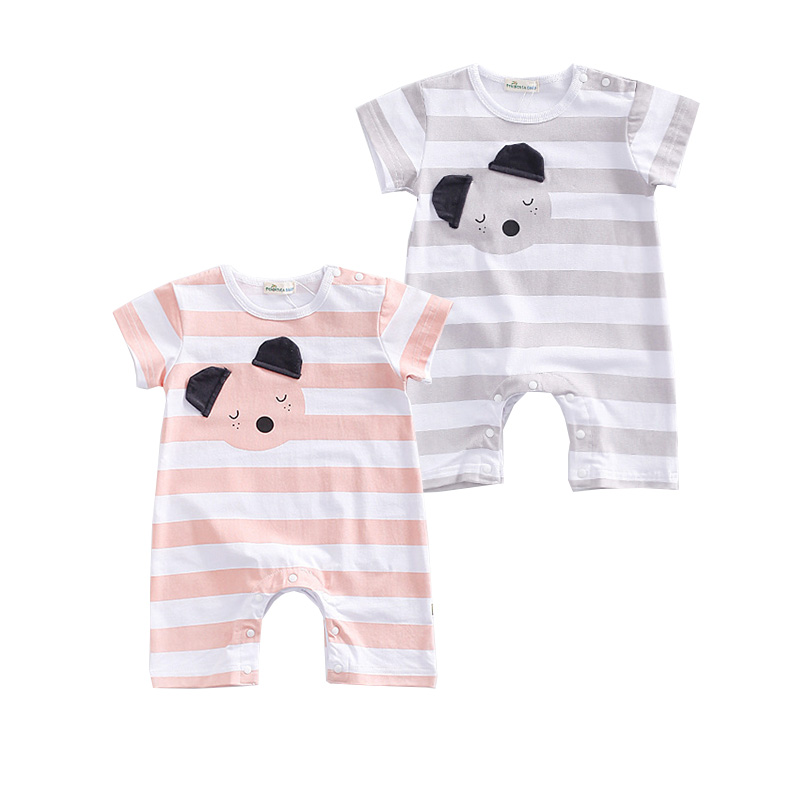 Cute Infant Baby Girls Boys Clothes Summer Short Sleeve Striped Rompers Newborn Baby Romper Bear Appliques Jumpsuits Outfits baby boys rompers infant jumpsuits mickey baby clothes summer short sleeve cotton kids overalls newborn baby girls clothing