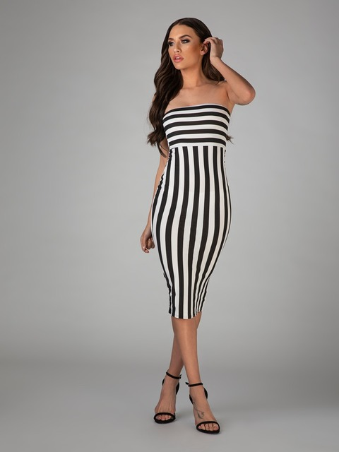 2018 women dress wholesale top quality black   white strapless stripe bandage  dress party dress dropshipping e17fabe16451