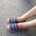 Повседневная Обувь Женщины Хлопчатобумажной Ткани Эспадрильи Женская Обувь Дамы Холст Скольжения Ons Обувь Простые Путешествия Alpargata Разноцветные