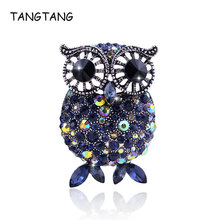Luxury Blue Rhinestone Owl Animal Style Brooches Pins For Women Men Ancient Silver Big Broches Mujer Full Crystal Sale