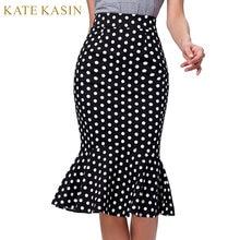 1d66551b44d Kate Kasin femmes Midi à pois jupe crayon Vintage OL travail trompette sirène  jupes taille haute