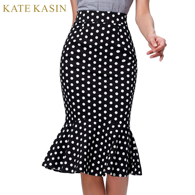 a3b4304dfeb Kate Kasin Women Midi Polka-Dots Pencil Skirt Vintage OL Work Trumpet  Mermaid Skirts High Waist Ruffles Hem Skirt Summer Spring