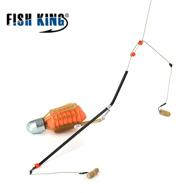 Peces rey 1 pc dos ganchos 20g-80g carpa trampa cesta alimentador de cebo jaula pesca accesorio con conector para carpa alimentador