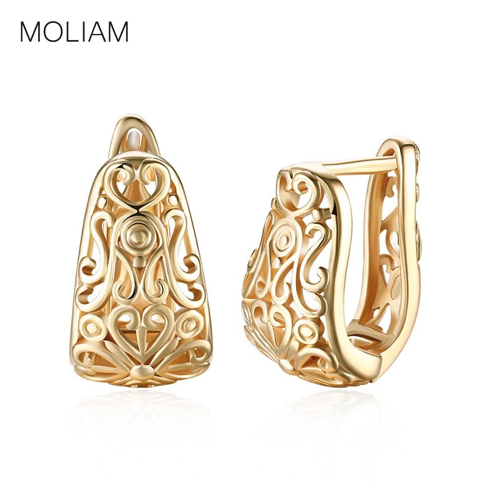 Moliam Mode Trendy Hohl Blume Creolen Für Frauen Damen Champagner Gold-farbe Floral Ohrring Brinco Schmuck Mldyf190 Verkaufspreis
