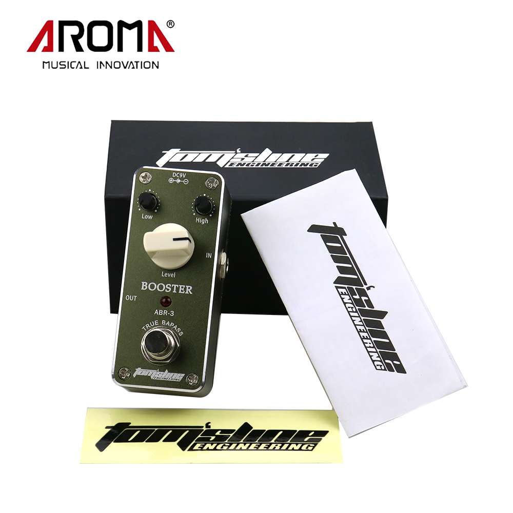 Aroma ABR-3 Mini Guitar Effects Booster Effect Pedal With True Bypass Guitarra Part aroma tom sline abr 3 mini booster electric guitar effect pedal with aluminum alloy housing true bypass durable guitar parts