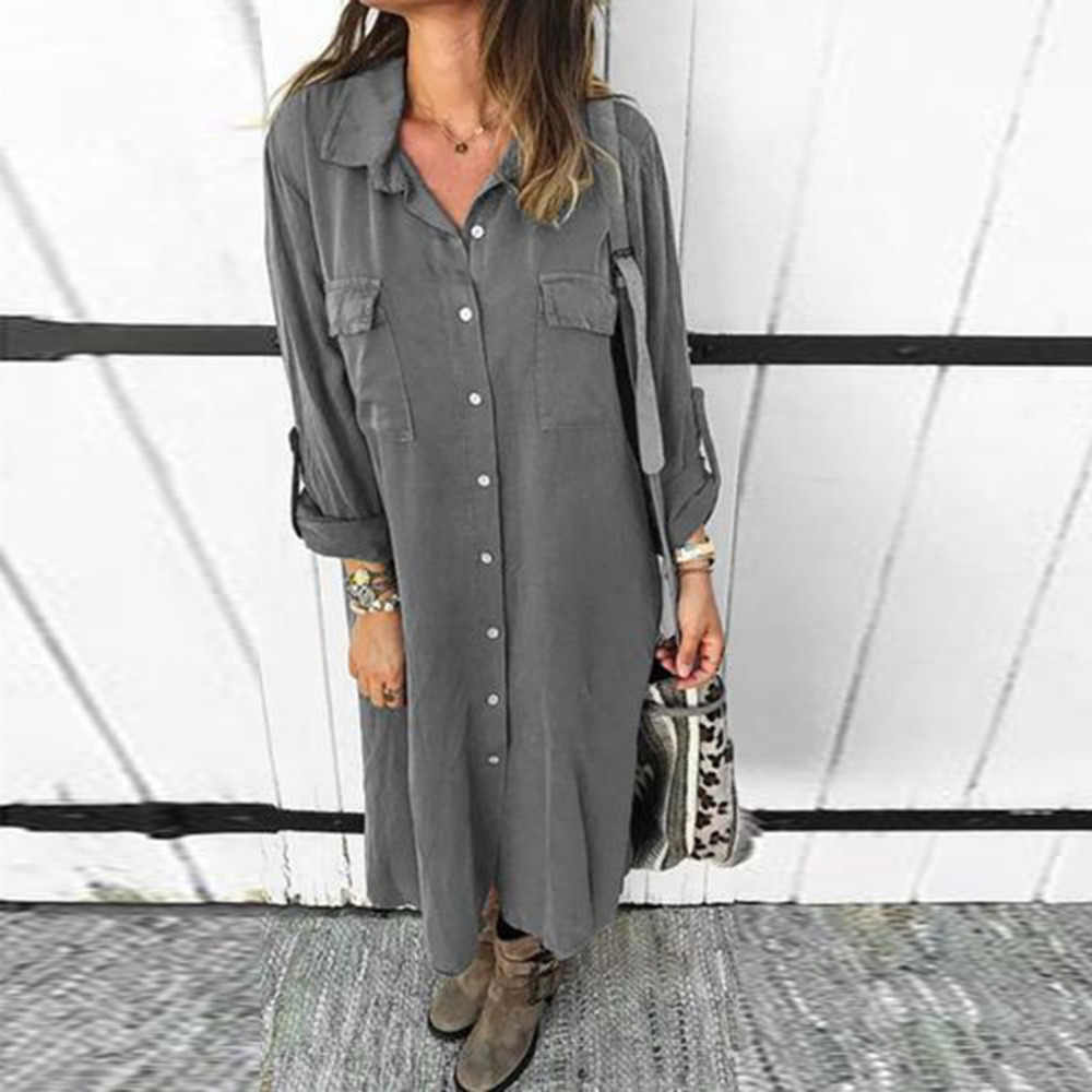 Women Button Knee Length Dress Solid Long Sleeve Dresses Plus size Turn Down Collar Office Ladies Shirt Natural Straight Summer