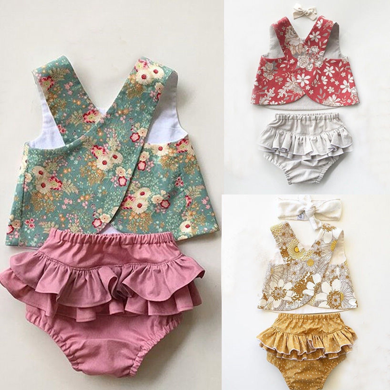 Summer Baby Girl Floral Clothes Sets Cute Infant Baby Girl Outfit Clothes Vest Top T-shirt+Tutu Shorts Pants Set