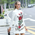 Stunning sexy rose sequined print dress 2016 spring autumn runway brand fashion long sleeve jacquard women white casual dresses