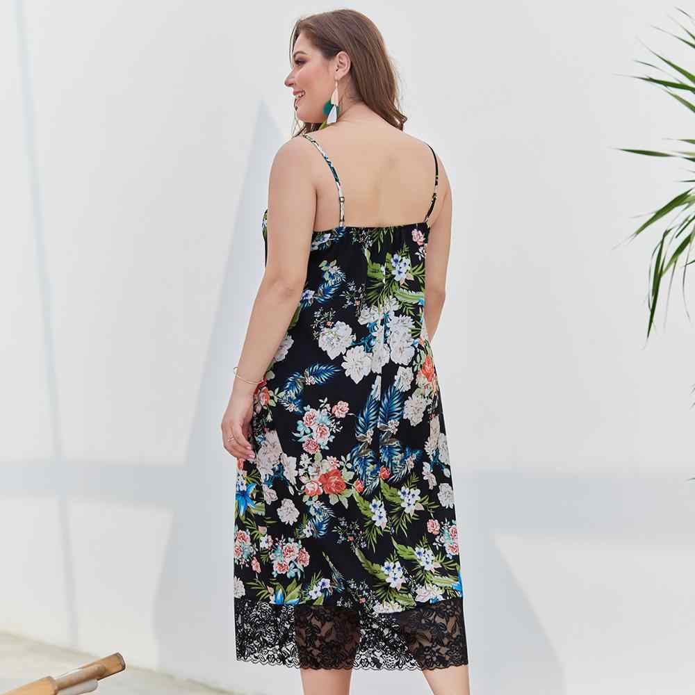 Кружевное платье с v-образным вырезом и открытой спиной, без рукавов, на бретельках, женские Вечерние Платья с цветочным рисунком, а-силуэт, большие размеры 3XL 4XL, платье XR050