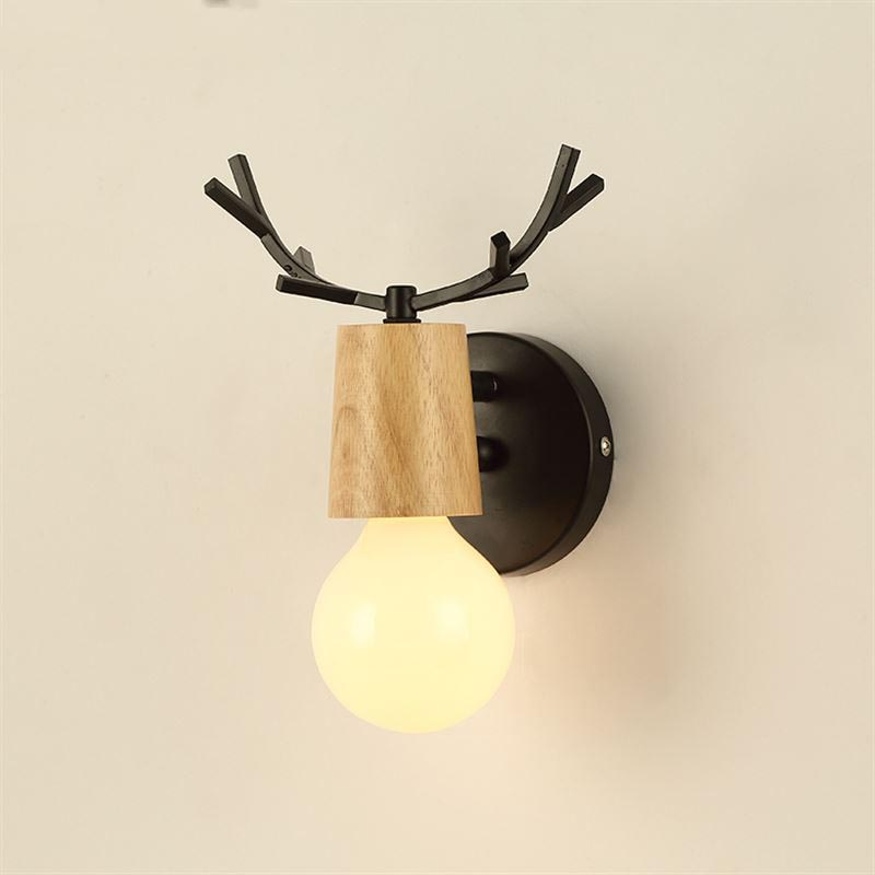 Nordic Vintage Antler Wall Lamp Contemporary Art Dec Black White Wood Antler Wall Light Sconce Bedside Reading Adjustable Arm Light Bedroom Wall Lamp (7)