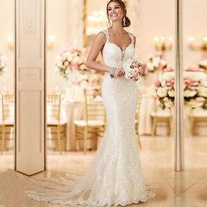 Image 1 - Ryanth זול Vestido דה noiva סקסי גב הפתוח תחרת בת ים שמלות כלה 2019 חוף ארוך רכבת חתונת שמלות Robe De mariage