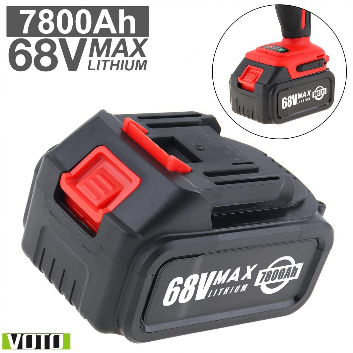 VOTO Battery Universal 68V Max 7800mAh Li-ion Rechargeable Battery With Flat Push Type And 2 Slots For Impact Electric Wrench