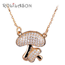 Mushroom Shape Office style Charming Gold Tone White Crystal Necklaces & Pendants for Women Wedding Fashion Jewelry LN562(China)
