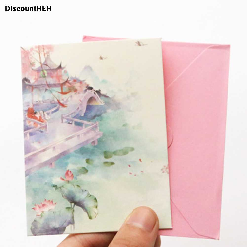 2018 1 set רוצה כרטיס ברכה בסגנון הסיני רטרו Creative דגם חדש נחמד עבור סטודנטים מכתבים הגדר